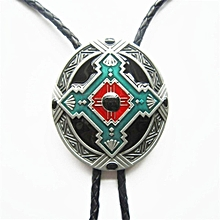 Vintage American India Cowboy Cross Knot Silver Needlepoint Bolo Tie Necktie