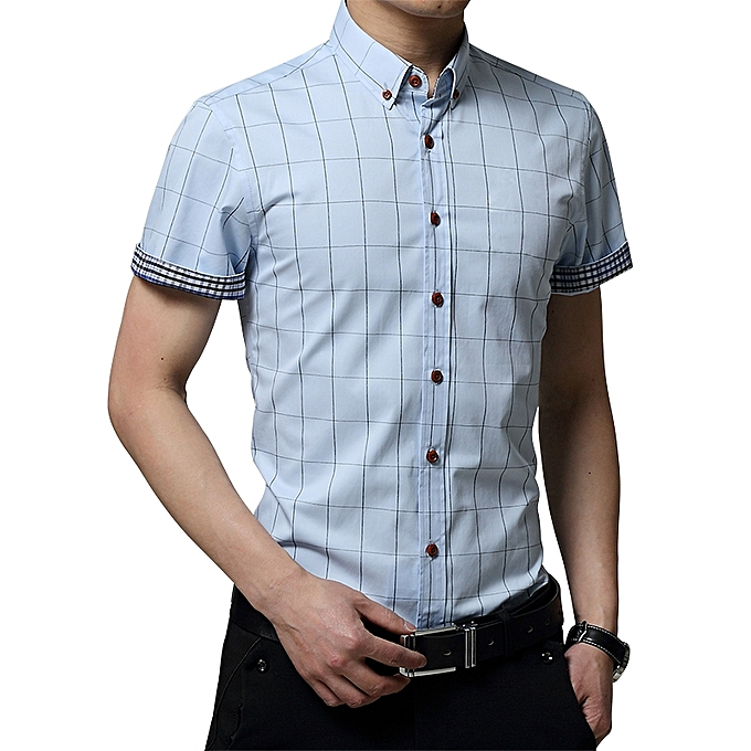 625e6526a890 ... 2019 Men s Short Sleeve Shirt Summer Business Formal Casual Plaid  Checked Top T Shirts-Light ...