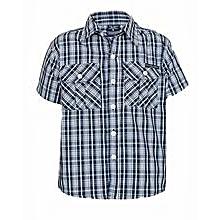Navy Blue/ White Checked Shirt
