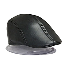 Men Fashion PU Beret Artist Beret Singer Hat Painter Caps - Black