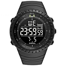 SMAEL 1237 Fashion Multi-function Silicone Band Sport LED Watch - BLACK