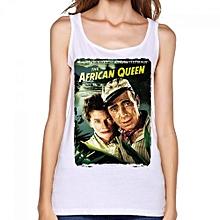 The African Queen Women's Print Vest Tank Tops White