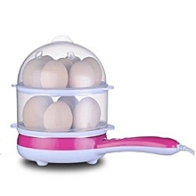 Multi-Function Mini Double Layers 14 Eggs Boiler with Electric Omelette Pan - Pink