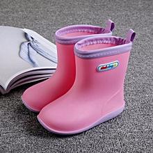Waterproof Child Soild Rubber Infant Baby Rain Boots Kids Rain Shoes- Pink