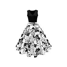 High Quality Woman Vintage Print Fit&flare Dress - White