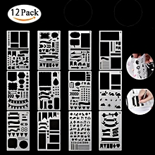 Journal Stencil Set DIY Drawing Template For Diary Notebook Scrapbook Paper Craft Projects - 12 PCS