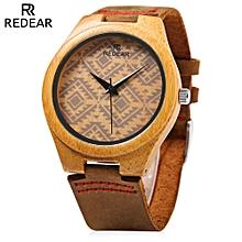 REDEAR SJ 1448 - 6 Wooden Female Quartz Watch Special Pattern Dial Leather Strap Wristwatch