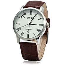 Male Analog Quartz Watch Leather Band 5ATM Water Resistant Small Dial Decorating-COFFEE WHITE