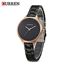 9015 Black Quartz Women's Watch With Black Simple Ultra-thin Dial