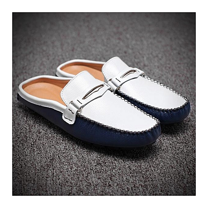 f8cbade80b5 ... Fashion Men British Style Color Blocking Flat Slip On Casual Backless  Loafers-EU ...