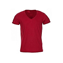 V - Neck Slim Fit T-shirt- Red