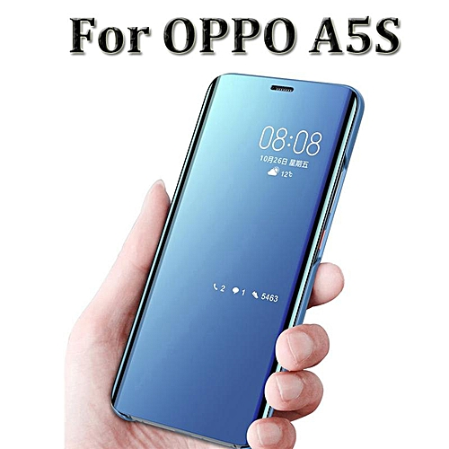 For OPPO A5S Smart Mirror Flip Cover Stand Hard Phone Case (Blue)