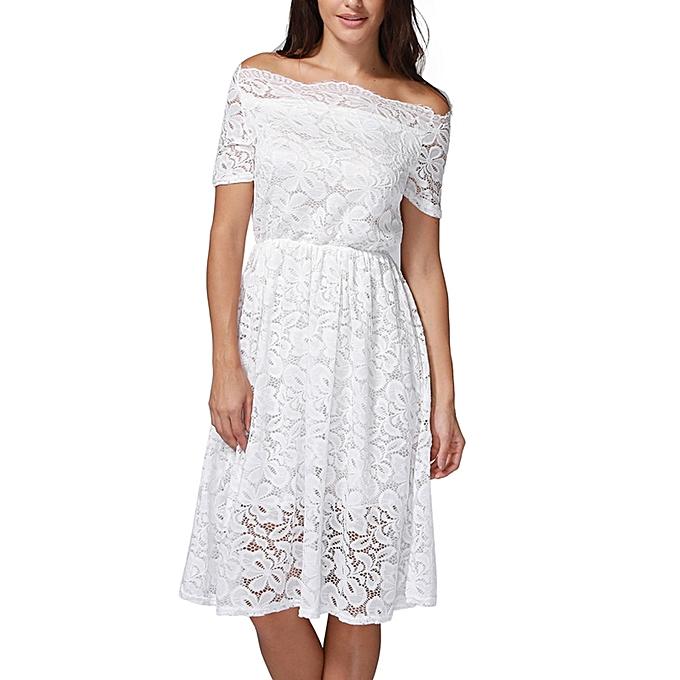 041402a170b0 jiuhap store Women Vintage Off Shoulder Lace Formal Evening Party Dress  Short Sleeve Dress-White