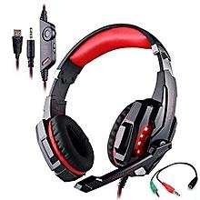Headphone Gaming, G9000 Gaming Headphone 3.5mm & USB 7.1 Surround Sound Headphone(Black Red)
