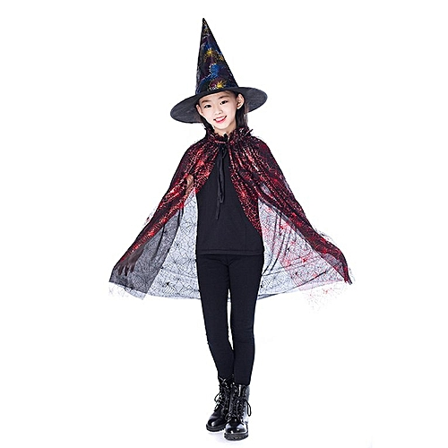 488dc806d92 Generic New Kids Happy Halloween Costume Set Wizard Witch Cloak Cape Robe  And Hat Red