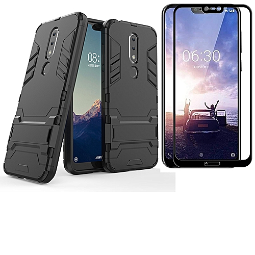 uk availability 9cc25 5281a Nokia 6.1 Plus / X6 Case + Full Cover Screen Protector