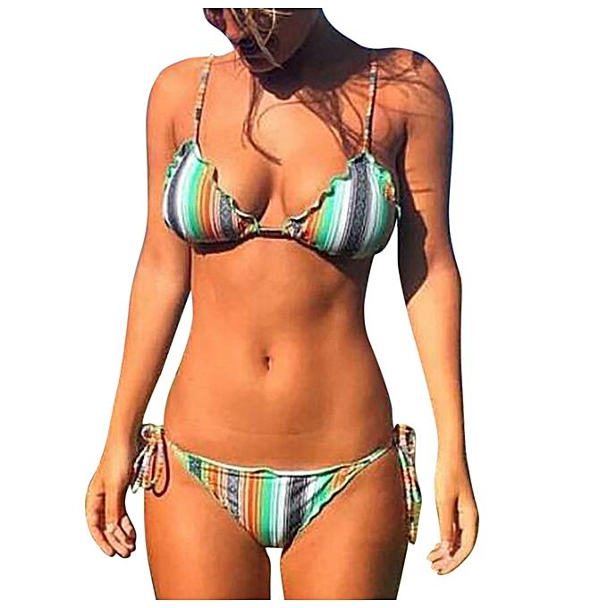 3b415a94ba9 jiahsyc store Women's Piece Of Swimsuit Multicolor Stripes Sexy Suit Bikini  Bathing Suit -Multicolor