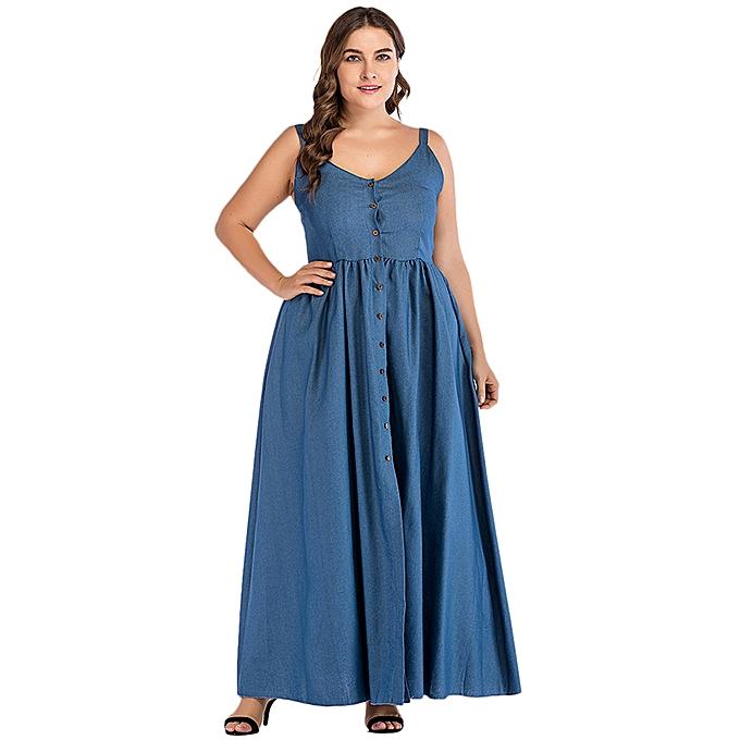 b657ac108a2 Sexy women large size denim dress sundress spaghetti strap button solid  split jeans dress blue jpg
