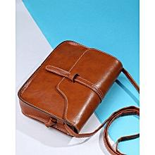 Women Retro Mini Square Messenger Bag -Brown