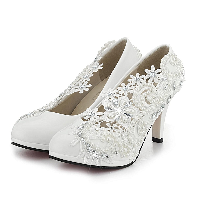 b222e164629c 3   8cm Ladies Heel Ivory Lace Crystal Pearls Wedding Bridal Shoes Pumps  Gift