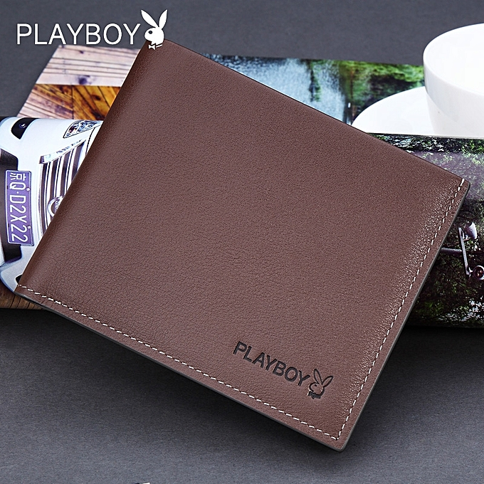 Fashion 【Brown】Playboy wallet men's youth ultra-thin fashion leather ticket holder boys wallet short leather wallet