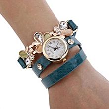 Women's Flower Sling Chain Watch Wrap Circle Button Wristwatch Light Blue