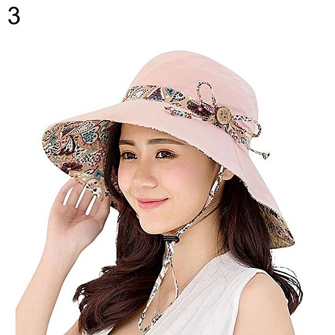 323ffe21a Women Summer Beach Travel Bowknot Wide Brim Sun Hat Reversible Foldable  Cap(Pink)