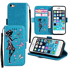 Premium Embossed Butterfly Girl PU Leather Wallet Folio Flip Cases with Detachable Wrist Strap Card Slots Kickstand Function Cover Case for Apple iPhone 5/5S/SE   XXZ-Z