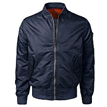 jiuhap store  Men Spring Autumn Winter Casual Solid Slim Bomber Jacket Zipper Outwear- Purple