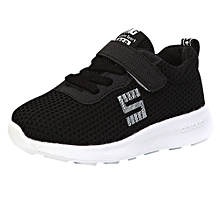 jiuhap store Toddler Kids Sport Running Baby Shoes Boys Girls Letter Mesh Shoes Sneakers -Black