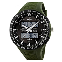 1066 Men LED Digital Watch Military Sports Watches Fashion Waterproof Outdoor Wristwatches - Green