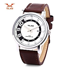 Male Quartz Watch Japan Movt Luminous Pointer Date Display Wristwatch-WHITE