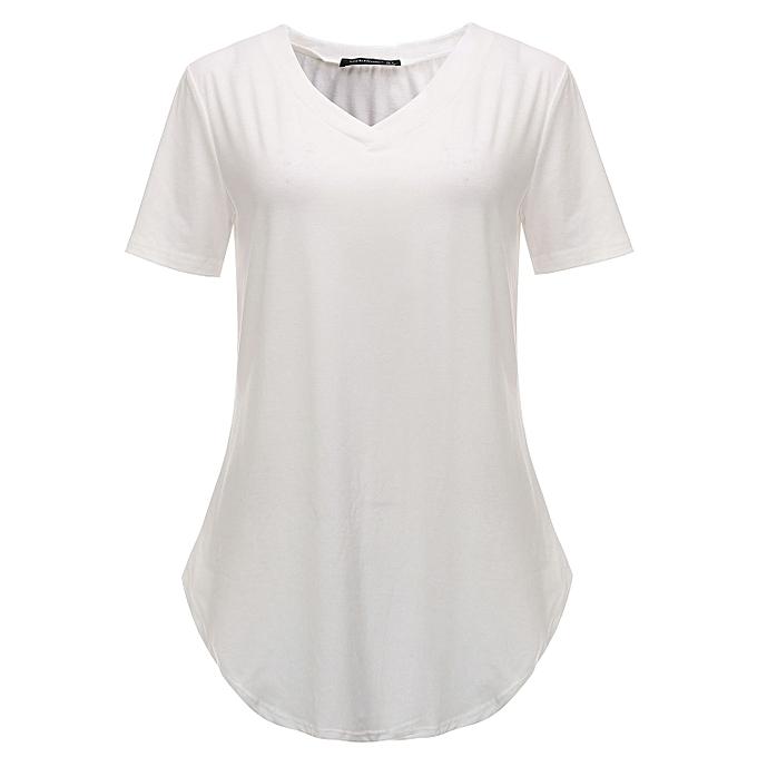 78d511489b89 ... Plus Size Womens Summer Short Sleeve V-Neck Basic T-Shirt Irregular  Shirt Casual ...
