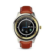 DM365 Bluetooth 4.0 Smart Watch MT2502A 360*360 IPS Full View & Leather Strap Pedometer Sleep Monitor For IOS & Android - Intl (Color:Gold)