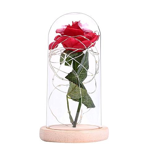 Decor Flower Night Christmas Glass Wood Gift Light Bottle Rose Wedding Cover Romantic For Birthday Lamp String Fairy Led Base AjL54R