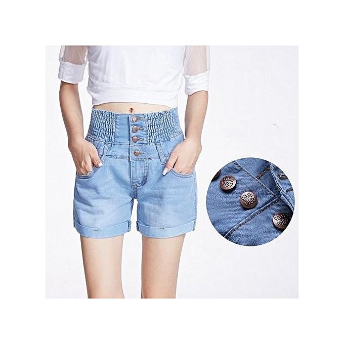 aba4f8e0946303 High Waist Denim Shorts For Woman Elastic Waist Loose Big Yards Wide Leg  Jean Shorts Light