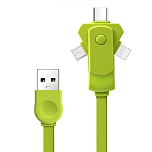 Universal 1 Meter 360 Degree Rotatable Cable Charging Data Line 3 In 1 Type-C Green