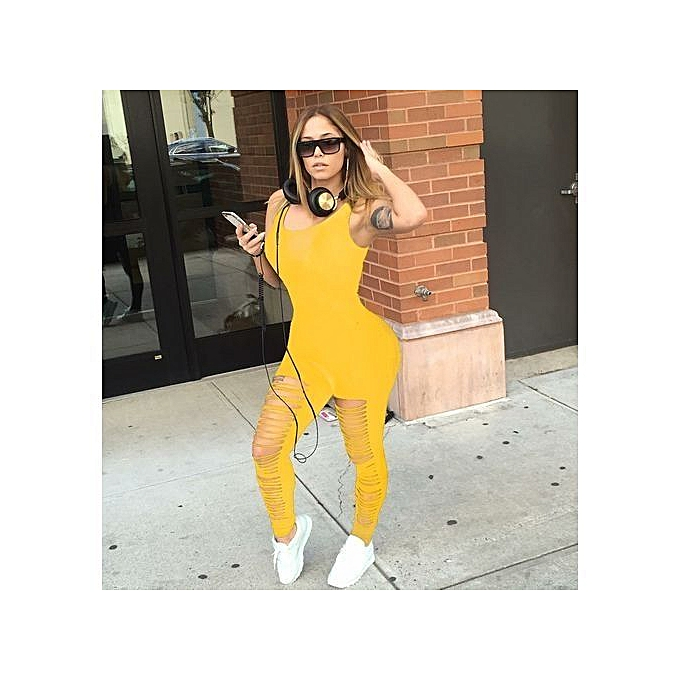 3086456a8dfb Elegant Women's Jumpsuit One Set Elegant Arrival Sexy Skin-tight Floral  Jumpsuits-yellow