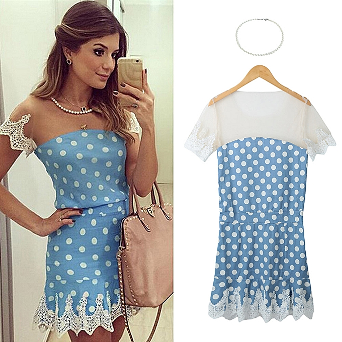 017469272 New Sexy Women Mini Dress Mesh Splice Crochet Lace Dot Print Short Sleeve  Necklace Slim Elegant