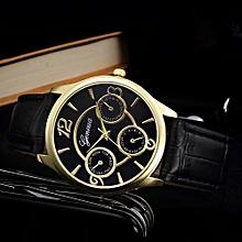 Fohting Retro Design Leather Band Analog Alloy Quartz Wrist Watch  -