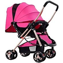 Unisex Foldable Pram Baby Stroller - Pink