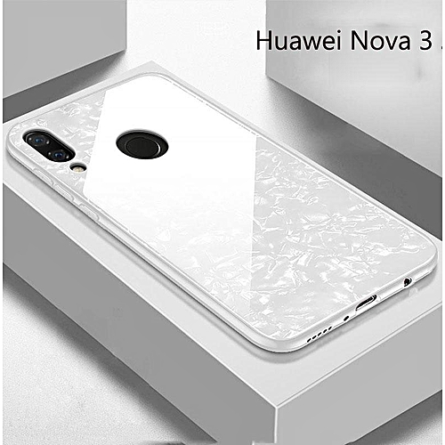 For Huawei Nova 3i Nova 3 Marbling Shell Hard Tempred Glass Back Cover Case  (nova3-white)