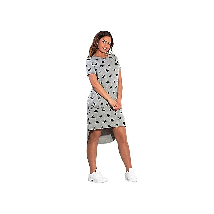198efe74d3 5XL 6XL Large Size New Women's Dress Casual Summer Plus Size Five Stars  Irregular O Neck Short Sleeve Dress Big Size Vestidos-black